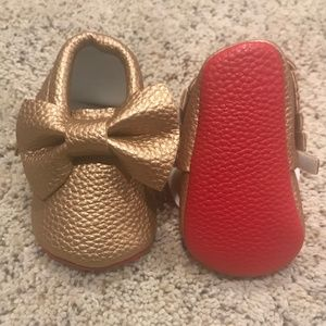 Other - Brand New Gold Red Bottom Baby Shoes Louboutin